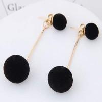 Anting PomPom Double Fuzzy Balls Earrings Black