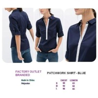 PATCHWORK SHIRT - BLUE. Made in China - FASHIONme FO BRANDED
