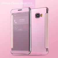 Casing Flip Mirror Samsung C5 C7 C9 Pro 2016 Flipcase Cover Transparan