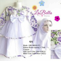 dress gamis baby 6-24bln labella tutu putih ungu 11