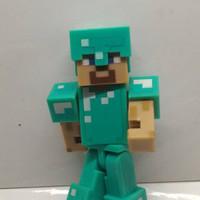 STOCK TERBATAS Action Figure minecraft Steve with Diamond Armor mojang