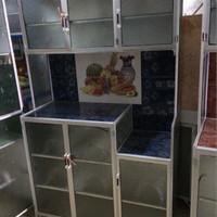 rak piring 3 pintu / lemari dapur keramik aluminium kaca