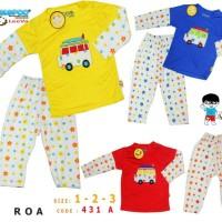 Baju Tidur Anak / Piyama Anak / Setelan Panjang Anak Flowery Bus