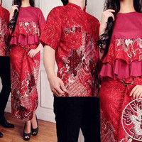 baju couple arsy merah/couple baju muslim/modern/trendy/murah