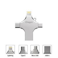 iDragon U010 32GB - 4 in 1 Flash Drive Metal Lightning Micro USB Type-