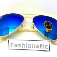 Kacamata Ray Ban Aviator Gold Frame w/ Blue Lens