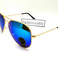 Kacamata Ray Ban Aviator DIAMOND HARD Gold Frame w/ Blue Lens