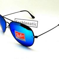 Kacamata Ray Ban Aviator DIAMOND HARD Black Frame w/ Blue Lens