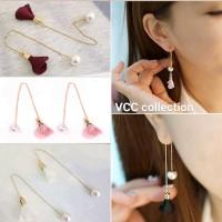 Jual anting panjang fashion wanita flower pearls long earrings Murah