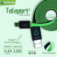 Teleport Versi 2 Micro USB 300CM Kabel Data Charger Xiaomi Samsung