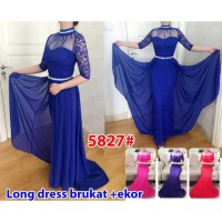 Long Dress Ekor 5827/ Baju Pesta/Baju Muslim/ Baju Brokat Impor