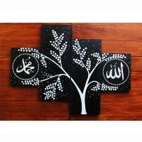 Jual lukisan bunga minimalis kaligrafi hitam putih Murah