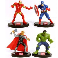 4 x MARVEL AVENGERS IRON MAN HULK THOR ACTION FIGURES CAKE TOPPER DECO