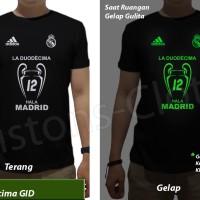 Kaos real madrid trophy juara liga champion 2017 glow in the dark GID