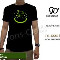 kaos distro bike smile sepeda sport t shirt baju hitam tomyliston