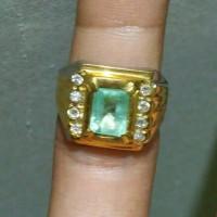Jual Cincin zamrud Colombia octagon,,minim serat,,bluish green versi Acc Murah