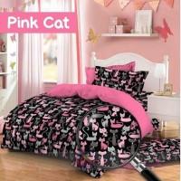 Bedcover Set Katun Jaxine Pink Cat 160x200x20