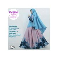 Baju gamis hijab Syari bunga polos set khimar warna bir Diskon