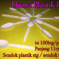 @100pc 11cm sendok plastik stg teh kecil agar puding cake ice es cream