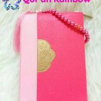 Jual Al Quran Rainbow Fatimah Zipper Pelangi Free Tasbih Cantik Warna Pink Murah