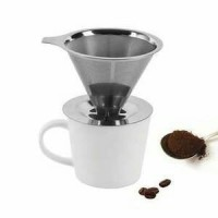 Jual Cone Pour Over / Drip Coffee Cone Stainless Filter 1-2 Cups Murah