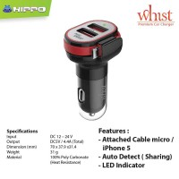 Jual Hippo Car Charger Whist (Premium 4.4A) series (2 port + Micro Cable) Murah