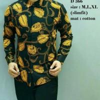 Jual Kemeja batik pria slimfit modern lengan panjang D 366 Murah