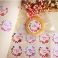 Flowery Round Thank You Label Sticker - Stiker Suvenir Cake Kue Kado