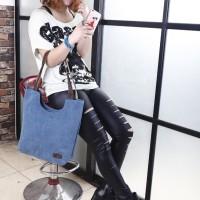 Korea Fashion Style Canvas Shoulder Bag / Tas Travel Kanvas Pundak