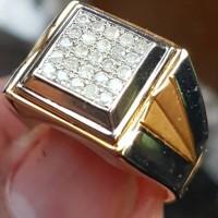 Cincin intan berlian natural diamond tabur 25 pcs ring perak murni