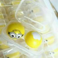 Jual Tempat Softlens Case Minion Kecil Box Putih Terbaru Cantik Lucu Murah