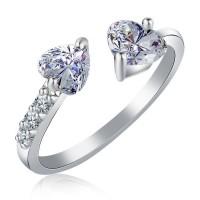Cincin Silver 2 Batu Berlian Love Size 5 - 8 (Perhiasan Wanita) BR110