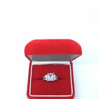 Kotak Cincin Bludru Box Velvet Merah Mewah - Besar Muat 2 Cincin