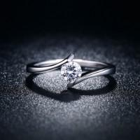 Cincin Silver Berlian Lapis Platinum Perhiasan Simple Elegan - BR109