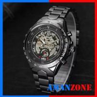 Jual  Jam Tangan Pria Automatic Mechanical Watch Winner Skeleton FULL BLACK Murah