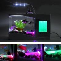USB Desktop Aquarium with Running Water & LCD Display - Akuarium Mini