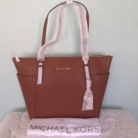 Michael Kors Jet Set Top Zip Saffiano Luggage