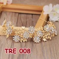 Jual Aksesoris Rambut Emas Bridal Tiara - Aksesoris Pesta Wanita - TRE 008 Murah