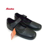 BATA 6064 Sepatu Pantofel Flat Wanita Kreket & Slip On Warna Hitam