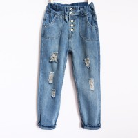 Celana Baggy Jeans Panjang Wanita Pants Rip Ripped