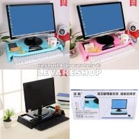 Monitor Stand + Keyboard Storage / Desktop Organizer / Rak 2 in 1