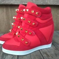 Jual sepatu wanita sneaker wedges merah heels boots nike adidas kets Murah