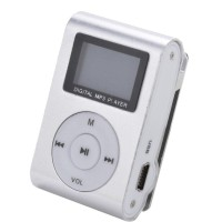 Pod mini MP3 Player TF card with Small Clip Silver and LCD Screen - Si