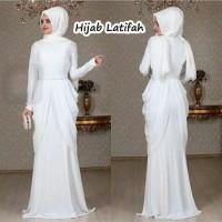 Hijab latifa latifah set white putih jersey adem dress MURAH PROMO