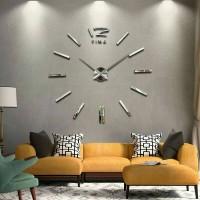 Jual DIY 3D Giant Wall Clock / Jam Dinding Besar Silver Murah