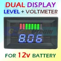 LED VOLTMETER DIGITAL DUAL DISPLAY Battery Level + Voltmeter Progress