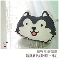 PUPPY PILLOW 45 cm 1 sisi - ALASKAN MALAMUTE - HEAD - BLACK