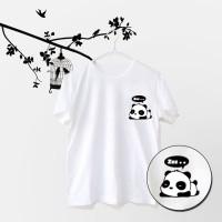 Tumblr Tee / T-Shirt / Kaos Wanita Lengan Pendek Pocket Panda Putih