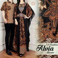 kaftan satin couple selvia batik + kemeja batik