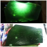 Natural Hijau Botol Serfentine Super Bahan Kristal Kaca & Size 44x29x1